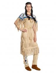 Nscho-Tschi™-Kostüm Damenkostüm Winnetou™ für Fasching Indianerin braun-blau