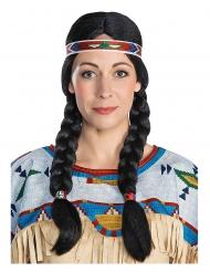 Nscho-Tschi™-Damenperücke für Fasching Winnetou™ Kostümzubehör schwarz