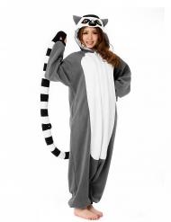 Kigurumi™ Lemur-Kostüm für Erwachsene grau-schwarz-weiss