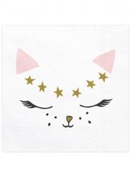20 Katzen-Servietten weiß 33 x 33 cm