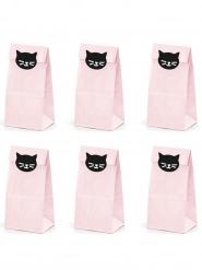 6 Geschenktüten Katzen rosa-schwarz 8 x 18 x 6 cm
