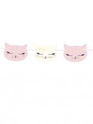 Süße Katzen-Girlande weiss-rosa 140 x 8,5 cm