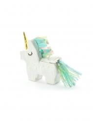 Miniatur-Pinata Einhorn-Partyzubehör weiss-türkis 8 x 2,5 cm