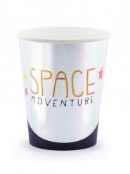 Pappbecher Space Adventure 6 Stück silber-schwarz-orange 200 ml