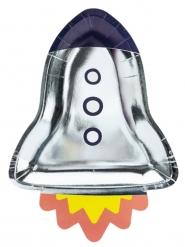 Weltall Raketen-Pappteller Geburtstag 6 Stück bunt 21,5x29,5cm