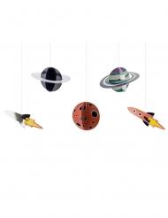 Planeten-Pappaufhänger Raumdekoration 5-teilig bunt 17 x 10 - 19 x 7 cm