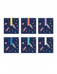 Geschenktüten mit Weltall-Motiv 6 Stück bunt 13 x 14 cm