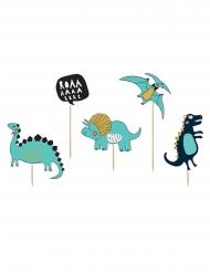 5 Dinosaurier Cake Topper blau 10,5 x 20 cm