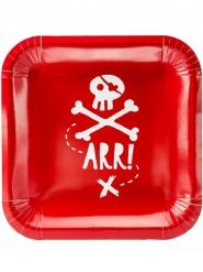 Piraten-Pappteller Tischzubehör 6 Stück rot-weiss 20 cm