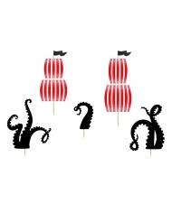 Piraten-Cupcake Dekoration 5-teilig Back-Zubehör schwarz-rot 13,5 - 21,5 cm