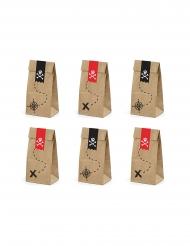 Papier-Geschenktütchen Piraten-Zubehör 6 Stück braun-rot-schwarz 8 x 18 x 6 cm