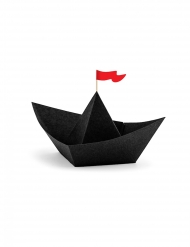 Piraten-Papierschiffe zum Selbermachen 6 Stück schwarz 19 x 10 x 14 cm