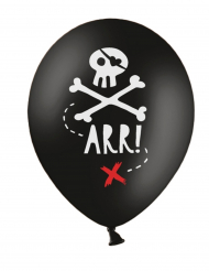 Latexballons mit Piratenmotiv Partydekoration 6 Stück schwarz-weiss