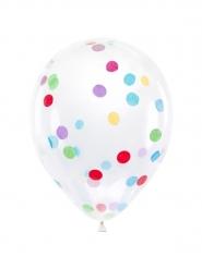 Transparenter Ballon mit Konfetti-Motiv 6 Stück bunt 30 cm