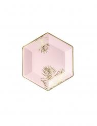Pappteller Tropical mit Palmen-Motiv 6 Stück rosa-goldfarben 23cm