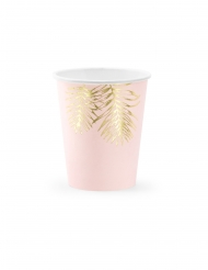 Sommerliche-Trinkbecher mit Palmen-Motiv 6 Stück rosa-goldfarben 220 ml