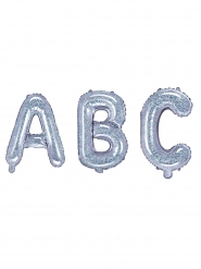 Glitter Buchstaben-Luftballons silber glitzernd 35 cm