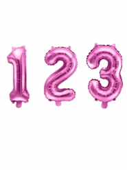 Zahlen-Ballon aus Aluminium pink 35 cm
