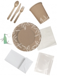 Picknick-Set ökologisch für bis zu 4 Personen braun-weiss