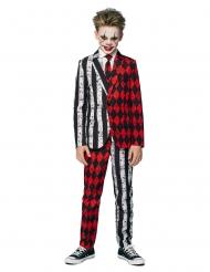 Horrorclown Opposuits™ für Teenager Halloween-Kostüm schwarz-weiss-rot
