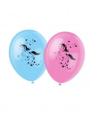 Einhorn-Luftballons für Kindergeburtstage 6 Stück rosa-blau 30 cm