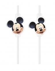 Mickey Maus™-Trinkhalme Kindergeburtstag 4 Stück schwarz-weiss-beige