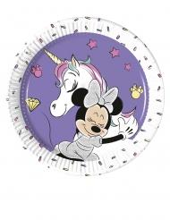 Minnie Maus™-Pappteller mit Einhorn Tischzubehör 8 Stück lila 20cm