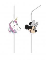 Minnie Maus und Einhorn™-Strohhalme für Kindergeburtstage 6 Stück bunt