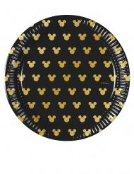 Disney™-Mickey Maus Pappteller Tischzubehör 8 Stück schwarz-gold 20cm