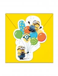 Minions™-Einladungskarte mit Luftballons 6 Stück bunt 14x9cm