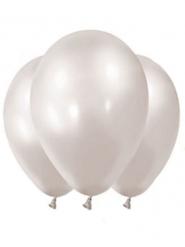 Luftballons aus Latex Partyzubehör 12 Stück metallic-weiß 28 cm