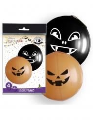 Riesige Ballons mit Grusel-Motiv Halloween-Deko 4-teilig orange-schwarz 47cm