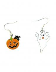 Kürbis & Geist-Ohrringe für Halloween Schmuck 2 Paar bunt