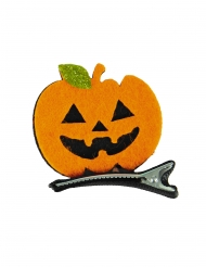Süße Kürbis-Haarklammer Accessoire für Halloween schwarz-orange 5 x 5 cm