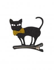 Haarspange mit schwarzer Katze Kostüm-Accessoire schwarz 5 x 5 cm