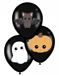 Niedliche Halloween-Luftballons Partydeko 6 Stück bunt 28 cm