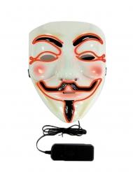 Anonymous LED-Maske für Erwachsene weiss-schwarz-orange