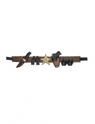 Sheriff-Gürtel mit Waffen Wilder Westen-Kostümaccessoire schwarz-braun-goldfarben 90 cm
