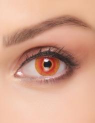 Kontaktlinsen infiziertes Monster Halloween-Make-up rot-gelb