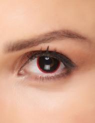 Düstere Kontaktlinsen für Erwachsene Fantasy schwarz-rot 15mm