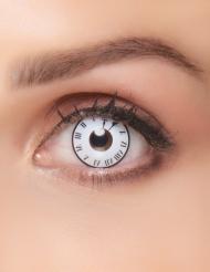 Uhr-Kontaktlinsen Make-up schwarz-weiss