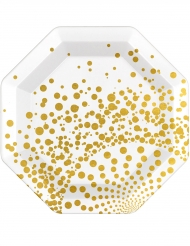6 achteckige Pappteller gold-weiss 23 cm