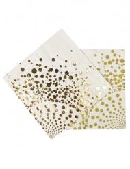 Papier-Servietten mit Punkten weiß-gold 33 x 33 cm