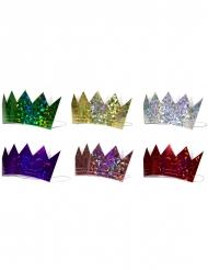 Majestätische Papier-Kronen Partyzubehör Diademe 6 Stück bunt