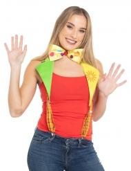 Hosenträger Clown-Accessoire mit Fliege bunt