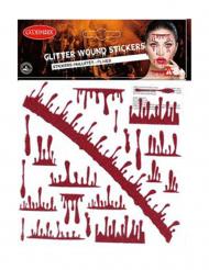 Blutige Wunde mit Glitzer Halloween Klebetattoo rot