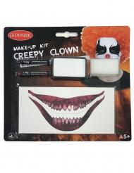 Horror-Clown Make-up-Set für Halloween Schmink-Idee weiss-schwarz-rot