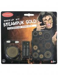 Edles Steampunk-Schmink-Set für Erwachsene 5-teilig gold-schwarz-grau
