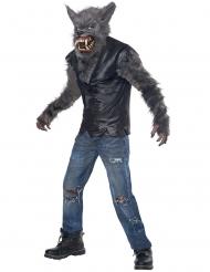 Werwolf-Kostüm für Kinder mit Maske Halloween grau-schwarz