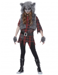 Gefährliches Werwolf-Kostüm für Mädchen Halloween grau-rot